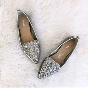 Aldo silver glitter pointed loafer flats shoes 10